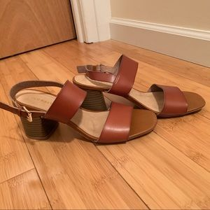 Old Navy Brown Leather Heeled sandals Size 8